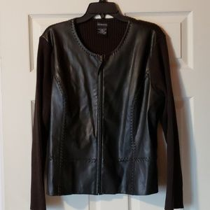 GEORGE faux leather sweater jacket dark brown Sz L